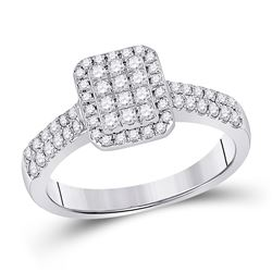 14kt White Gold Womens Round Diamond Rectangle Cluster Ring 1/2 Cttw