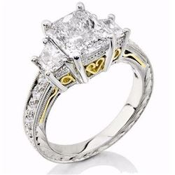 Natural 4.02 CTW Radiant Cut & trapezoids Diamond Ring 14KT Two Tone
