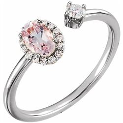Natural 0.69 CTW Pink Morganite & Diamond Cuff Ring 18KT White Gold