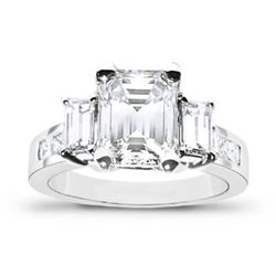Natural 1.67 CTW Emerald Cut 3-Stone Diamond Engagement Ring 18KT White Gold
