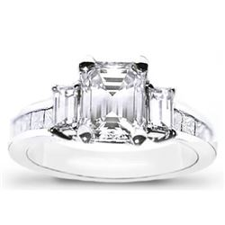 Natural 3.22 CTW 3-Stone Emerald Cut & Baguettes Diamond Ring 18KT White Gold