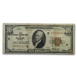 1929 (E-Richmond) $10 Brown Seal FRBN VF