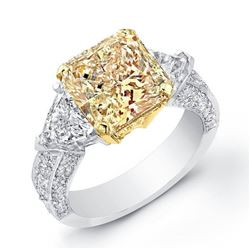 Natural 2.12 CTW Canary Yellow Radiant Cut Diamond Ring 14KT Two-tone