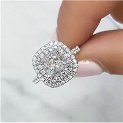Natural 2.17 CTW Cushion Cut Double Halo U-Setting Diamond Engagement Ring 18KT White Gold