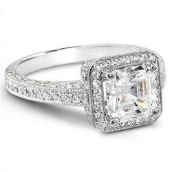 Natural 2.22 CTW Asscher & Round Cut Diamond Engagement Ring 14KT White Gold