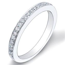 Natural 0.37 CTW Diamond Wedding Band & Micro Pave 2mm Wide 18KT White Gold