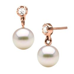 White Akoya Pearl and Dainty Diamond Dangle Earrings