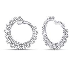 14kt White Gold Womens Round Diamond Hoop Earrings 1-1/2 Cttw