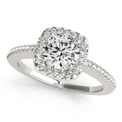 Natural 0.75 ctw Diamond Halo Ring 14k White Gold