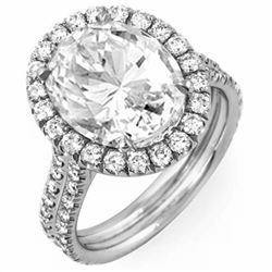 Natural 3.22 CTW Halo Oval Cut Diamond Engagement Ring 18KT White Gold