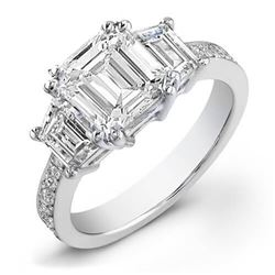 Natural 2.22 CTW Emerald Cut & Trapezoids Diamond Engagement Ring 14KT White Gold