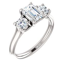Natural 1.52 CTW 3-Stone Emerald Cut & Rounds Diamond Engagement Ring 18KT White Gold