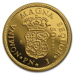 2018 Spain Proof Gold '¬50 150th Anniversary Spanish Escudos