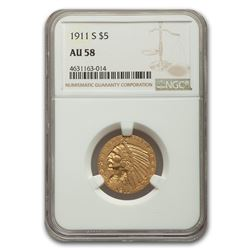 1911-S $5 Indian Gold Half Eagle AU-58 NGC