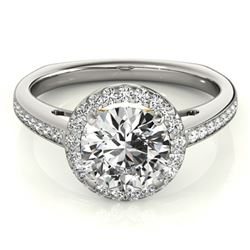 Natural 1.05 ctw Diamond Solitaire Halo Ring 14k 2Tone Gold