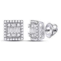 14kt White Gold Womens Baguette Diamond Square Cluster Earrings 3/8 Cttw