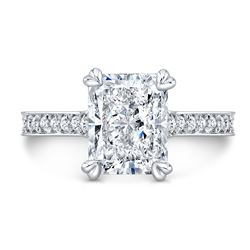 Natural 2.32 CTW Radiant Cut Micro Pave Diamond Engagement Ring 14KT White Gold