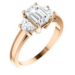 Natural 1.52 CTW 3-Stone Emerald Cut & Half Moons Diamond Ring 18KT Rose Gold