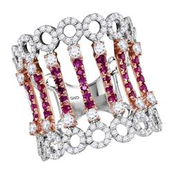 14kt Two-tone White Rose Gold Womens Round Ruby Diamond Cocktail Fashion Ring 1-1/2 Cttw