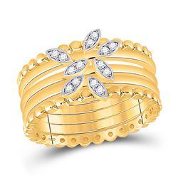 14kt Yellow Gold Womens Round Diamond 5-Piece Leaf Stackable Band Ring Set 1/10 Cttw