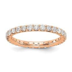 Natural 1.27 CTW Round Brilliant Diamond Eternity Band Wedding Ring 14KT Rose Gold