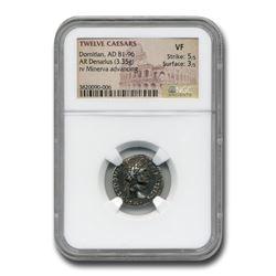 Roman Silver Denarius Emperor Domitian (81-96 AD) VF NGC
