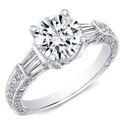 Natural 3.28 CTW Round Cut & Baguette Diamond Engagement Ring 18KT White Gold