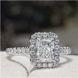 Natural 1.62 CTW Halo Radiant Cut Diamond Engagement Ring 18KT White Gold
