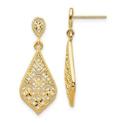 14k Yellow Gold Fancy Dangle Post Earrings