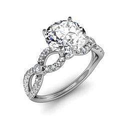 Natural 1.62 CTW Round Brilliant Cut Twist Shank Diamond Ring 14KT White Gold