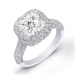 Natural 2.72 CTW Princess Cut Micro Pave Diamond Ring 14KT White Gold