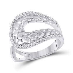 14kt White Gold Womens Round Diamond Modern Scale Fashion Ring 1/4 Cttw