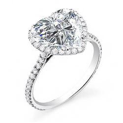 Natural 2.72 CTW Halo Heart Shape Forever Diamond Engagement Ring 14KT White Gold