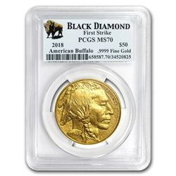 2018 1 oz Gold Buffalo MS-70 PCGS (FS, Black Diamond)