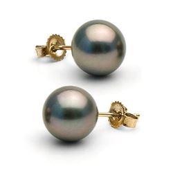 Black Tahitian Pearl Stud Earrings, 9.0-10.0mm