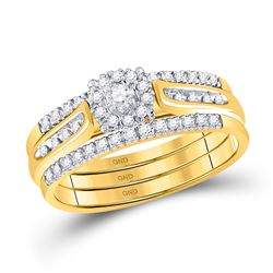 14kt Yellow Gold Round Diamond 3-Piece Bridal Wedding Ring Band Set 1/4 Cttw