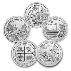 2019 5-Coin 5 oz Silver ATB Set (America the Beautiful)