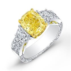 Natural 4.43 CTW Intense Yellow Cushion Cut Diamond Ring 18KT Two-tone