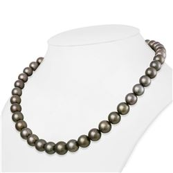 """Medium Silver True Round Tahitian Pearl Necklace, 18""""es, 9.1-11.7mm, AAA Quality"""