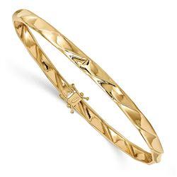 14k Yellow Gold Polished Twisted Bangle Bracelet