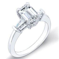 Natural 2.12 CTW Emerald Cut & Baguettes Pave Basket Diamond Ring 18KT White Gold