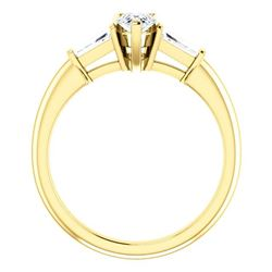 Natural 2.39 CTW Pear Cut & Baguette 3-Stone Diamond Engagement Ring 14KT Yellow Gold