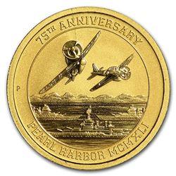 2016 Tuvalu 1/10 oz Gold Pearl Harbor BU