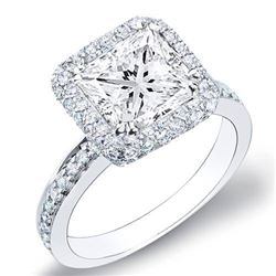 Natural 2.72 CTW Princess Cut Halo Micro Pave Diamond Engagement Ring 18KT White Gold