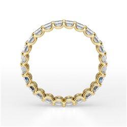 Natural 3.52 CTW U-Setting Emerald Cut Diamond Eternity Ring 18KT Yellow Gold