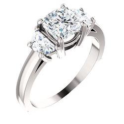 Natural 1.72 CTW 3-Stone Cushion Cut & half moons Diamond Ring 14KT White Gold