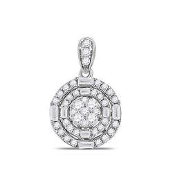 14kt White Gold Womens Round Diamond Circle Cluster Pendant 3/8 Cttw