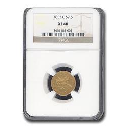 1852-C $2.50 Liberty Gold Quarter Eagle XF-40 NGC