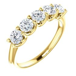 Natural 1.02 CTW Round Cut 5-Stone Diamond Ring 14KT Yellow Gold