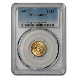 1907 $2.50 Liberty Gold Quarter Eagle MS-67 PCGS